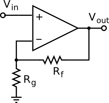 Schematic of a non-inverting amplifier